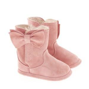 Stivaletto neonata in crosta con fiocco rosa
