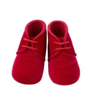 Scarpina neonato battesimo in velluto rosso