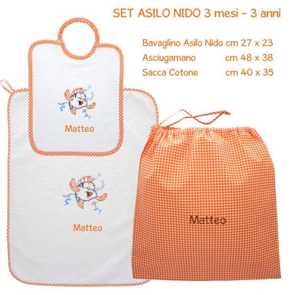 Set Asilo Nido Personalizzato 3 pezzi Pesciolino arancione