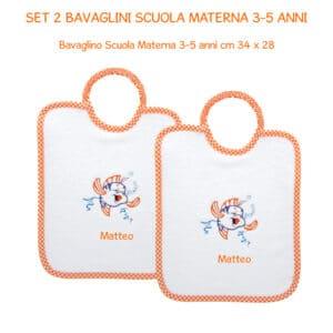 Set Bavaglini Personalizzati Materna 2 pezzi Pesciolino Arancione