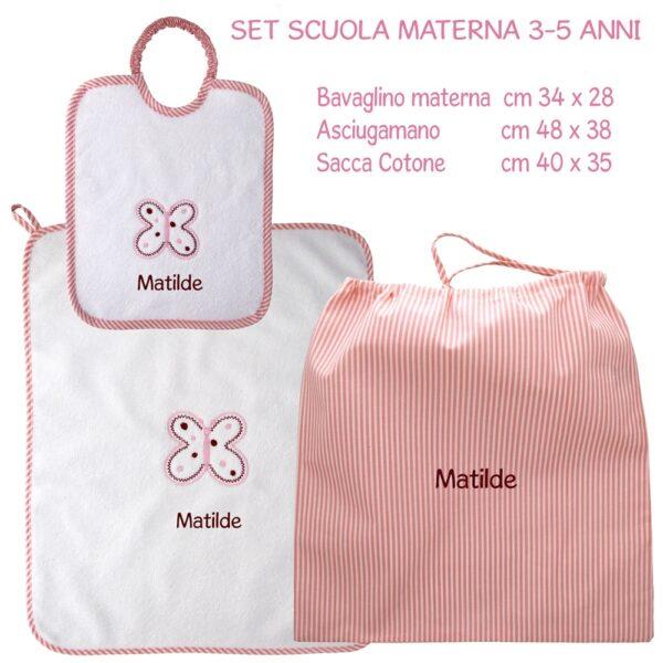Set Asilo Personalizzato Materna Farfalla Rosa