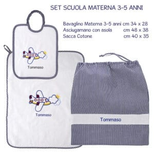Set Asilo Personalizzato Materna Aereo Blu