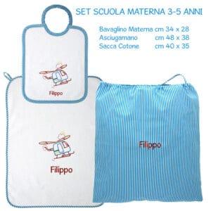 Set Asilo Personalizzato Materna Elicottero Turchese