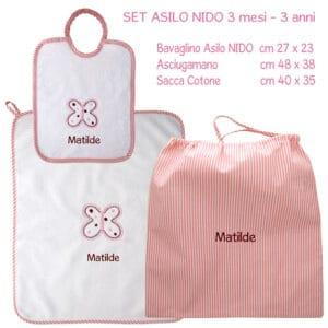 Set Asilo Personalizzato Nido Farfalla Rosa 3 pezzi