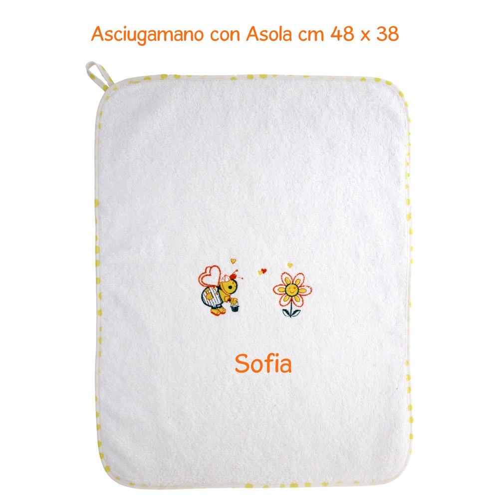 Asciugamani E Bavaglini Personalizzati.Set Asilo Bavaglino Grande 3 Pezzi Apina Gialla Personalizzato