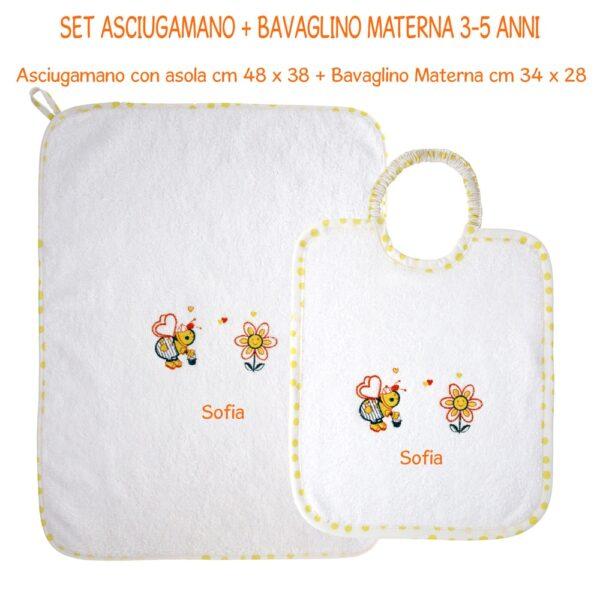 Bavaglino e Asciugamano Personalizzati Materna Apina
