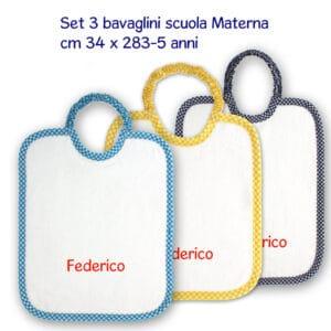 Bavaglini Personalizzati Scuola Materna set 3 pezzi bimba