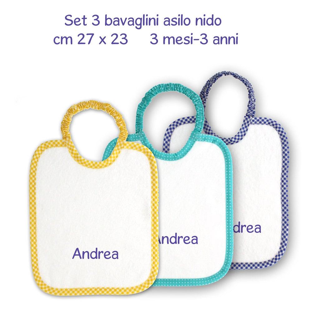 Asciugamani E Bavaglini Personalizzati.Set 3 Bavaglini Bimbo Piccoli Nido Personalizzati Coccole Store