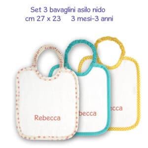 Bavaglini Personalizzati Asilo Nido set 3 pezzi bimba