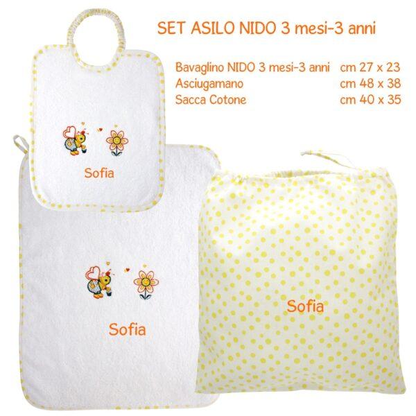 Set Asilo Nido Personalizzato 3 pezzi Apina gialla