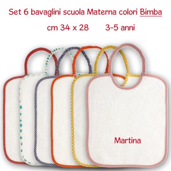 Bavaglini Personalizzati Materna set 6 pezzi- Bimba