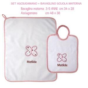 Set Bavaglino e Asciugamano Personalizzati Materna 2 pezzi Farfalla Rosa