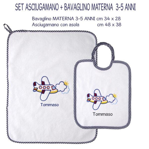 Bavaglino e Asciugamano Personalizzati Materna Aeroplano