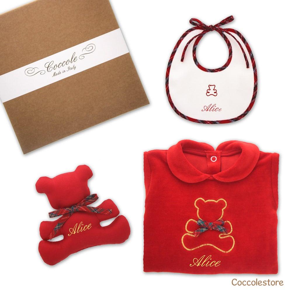 Regalo nascita personalizzato tutina bavaglino e doudou rosso