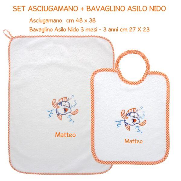Bavaglino e Asciugamano Personalizzati Asilo Nido Pesciolino