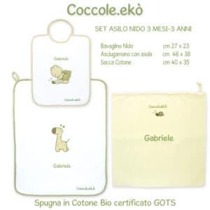 Set Asilo Nido Personalizzato Cotone Bio 3 pezzi Coccole Store