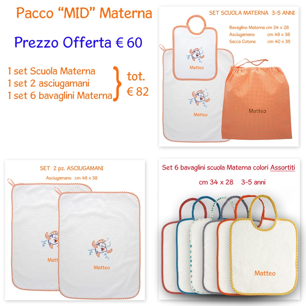 Asciugamani E Bavaglini Personalizzati.Offerta Mid Set Asilo Scuola Materna Confezione Mid Pesciolino