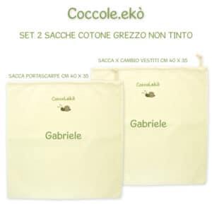 Sacche Personalizzate in Cotone Bio set 2 pezzi