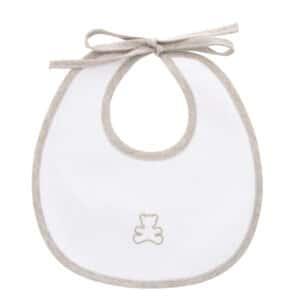 Bavaglino neonato orsetto in piquet bco-ecru