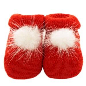 Scarpina in maglia con pompon in visone rosso