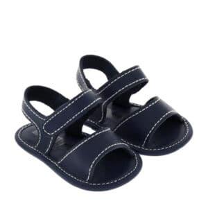 Sandalino neonato nappa blu