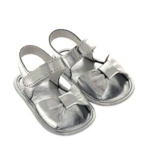 Sandalino neonata battesimo nappa fiocchetto argento