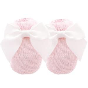 Scarpina in maglia neonato con fiocco