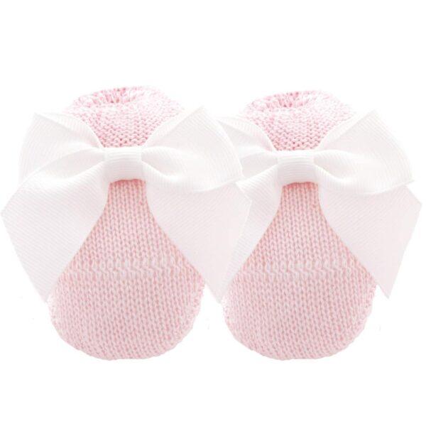 Scarpina in maglia con fiocco rosa