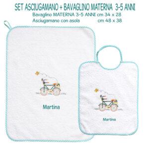 Bavaglino e Asciugamano Personalizzati Materna Bicicletta