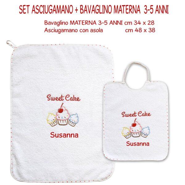 Bavaglino e Asciugamano Personalizzati Materna Sweet Cake