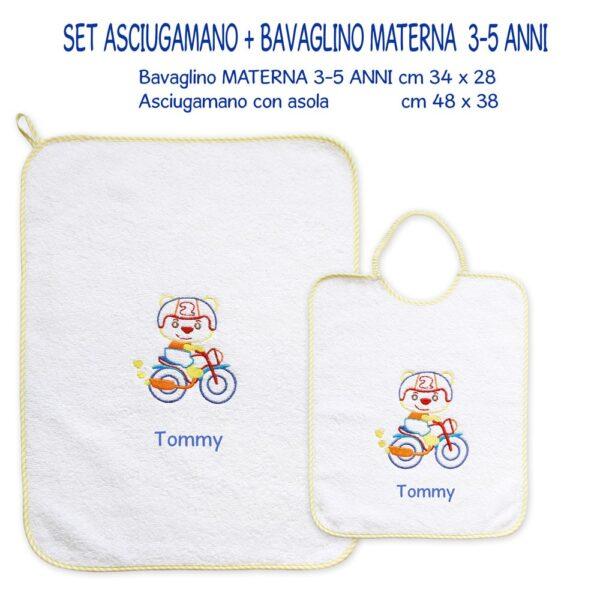 Bavaglino e Asciugamano Personalizzati Materna Moto