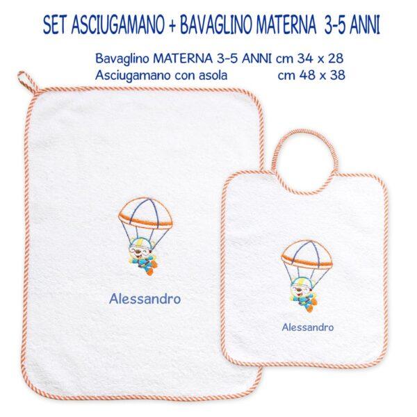 Bavaglino e Asciugamano Personalizzati Materna Paracadutista