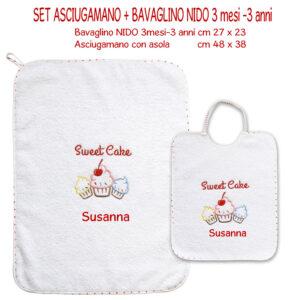 Bavaglino e Asciugamano Personalizzati Asilo Nido Sweet Cake