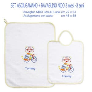 Bavaglino e Asciugamano Personalizzati Asilo Nido Moto