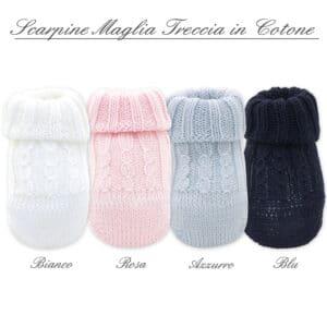 Scarpina in maglia neonato con trecce- Cotone