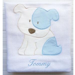 Copertina Personalizzata in maglia Billy Bianco Azzurro
