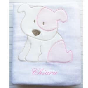 Copertina Personalizzata in maglia Billy Bianco Rosa