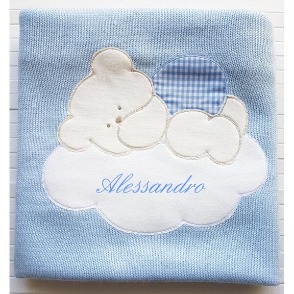 Copertina Personalizzata in maglia Azzurro