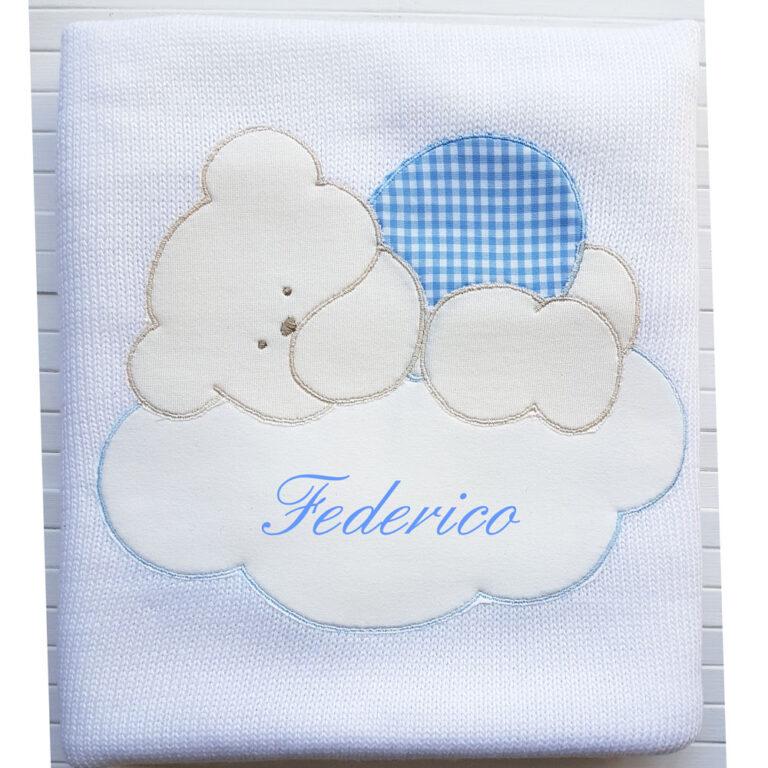 Copertina Personalizzata in maglia Bianco Azzurro