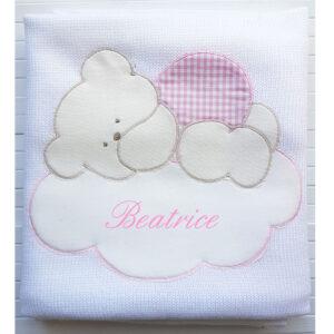 Copertina Personalizzata in maglia orsetto su nuvola Bianco Rosa