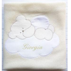 Copertina Personalizzata in maglia Panna