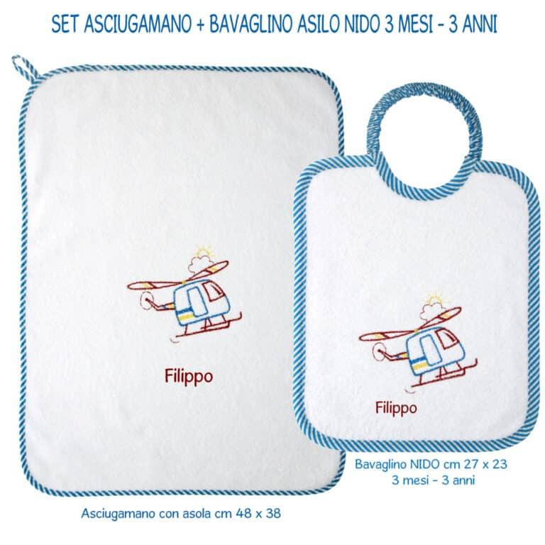 2-pz-NIDO-ASCIUGAMANO-+-BAVETTA-TURCHESE-RIGHE
