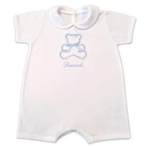Pagliaccetto Personalizzato Neonato Orsetto Bianco-Azzurro