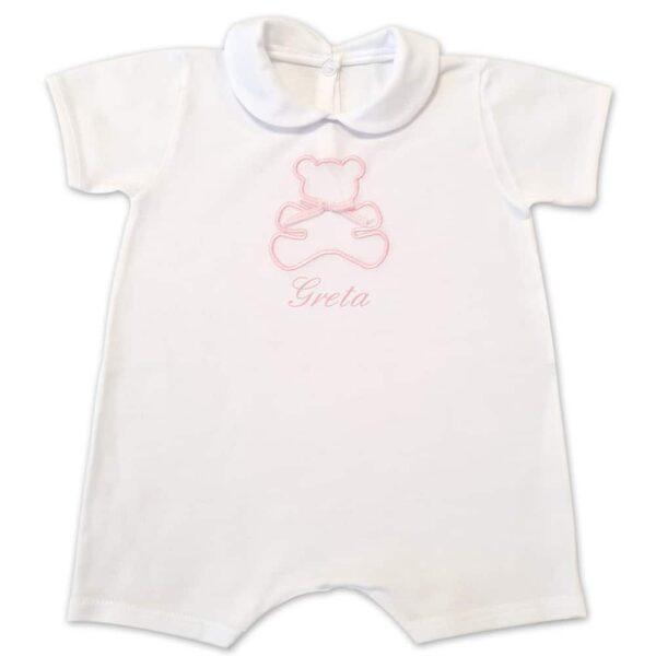 Pagliaccetto Personalizzato Neonato Orsetto Bianco-Rosa