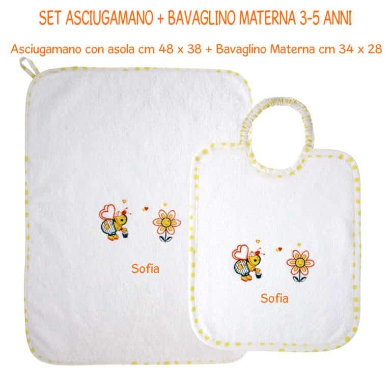 SET-2-PZ-BAVAGLINO-+-ASCIUGAMANO-MATERNA-GIALLO-POIS