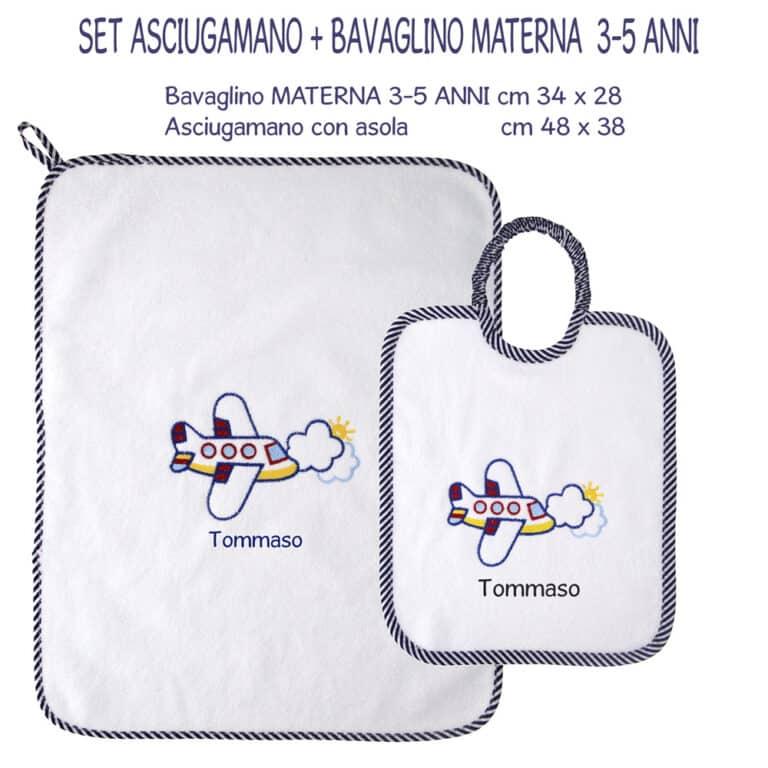 SET-MATERNA-asciugamano-+-bavaglino-RIGHE-BLU