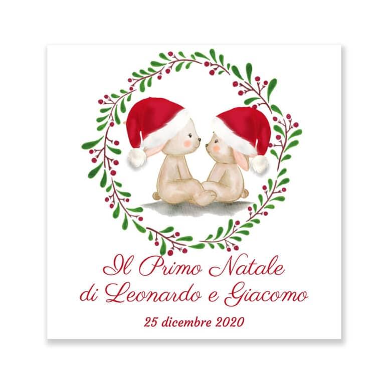Quadretto Il mio primo Natale Personalizzato Coniglietti