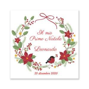 Quadretto Il mio primo Natale Personalizzato Pettirosso