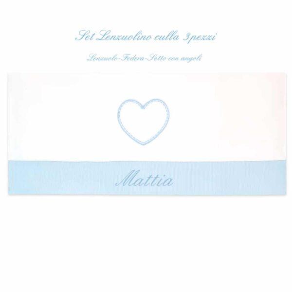 Lenzuolino personalizzato lettino Cuore in quattro colori