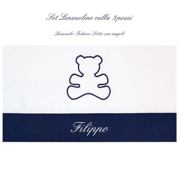 Lenzuolino personalizzato Culla Orsetto in cinque colori